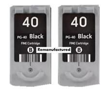 2x Rem PG-40 PG40 PG37XL black ink cartridges for Canon MX310 MP220 MP450 MP460