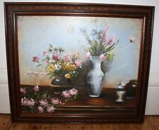 Original Art Large Painting Still Life Flowers in Vases Oil / Acrylic -Will Post