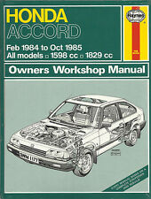 BRAND NEW & SEALED HAYNES MANUAL FOR HONDA ACCORD 1984 TO 1985
