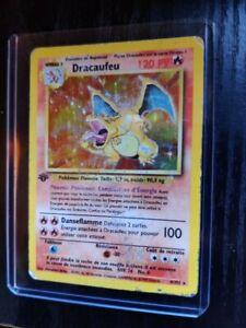 dracaufeu édition 1 set de base carte Pokémon en A4