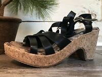 Via Veneto Womens Black Size 7 Cut Strap Heeled Wedge Sandals