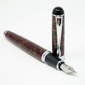 Jinhao X750 Lava Red Marble Fountain Pen, MEDIUM Nib Chrome Trim - UK SOLD