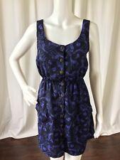 Hot Topic Womens Dress Giraffe Blouson Blue Button Front Cut Out Back Size S