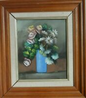 ORIGINAL  OIL PAINTING STILL LIFE OF FLOWERS IN BLUE VASE SIGNED KIM