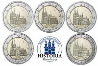 Deutschland 5 x 2 Euro Kölner Dom 2011 bankfrisch 5 Münzen Set Mzz A D F G J