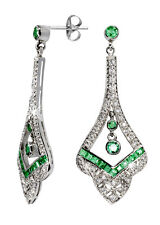 Edle Art Deco Ohrstecker mit Smaragden