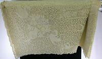"Antique Vtg White Cream Lace Tablecloth w Swan Designs & Floral Patterns 64x106"""