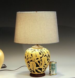 Stangl Pottery Vase Lamp Art Deco Vintage Lovebirds Yellow Large Parakeets Globe