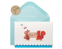 Papyrus Bunny & Squirrel Boxed Blank Note Cards with Glitter, 14-Count