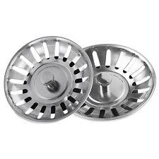 2X Stainless Steel Kitchen Sink Strainer Waste Plug Filter Drain Stopper Basket