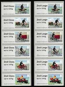 ERROR 2nd & 2nd Large Mail by Bike Full Set of 12 Post & Go Faststamp