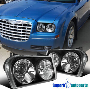 For 2005-2010 Chrysler 300 Touring AWD 05-07 Limited Projector Headlights Black