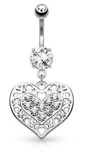 TITANIUM -  Heart Dangle Belly Bar with Clear Crystals: 6mm 8mm 10mm 12mm 14mm