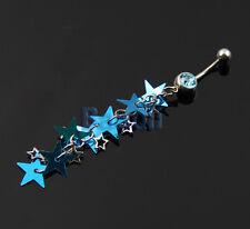 Trendy Pastel Blue Star Dangle Belly Ring Bar Navel Ring Pretty Eye-catching MA