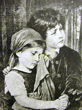 Young Girl Crying & Boy LOST in the WOODS 1887 Antique Print Matted