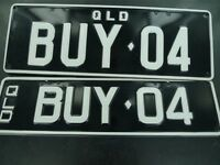 .QUEENSLAND REGO NUMBER PLATES   BUY 04  NEVER FITTED, NEAR MINT, FRONT & BACK