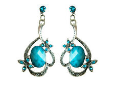 Vintage Style Turquoise Blue Flower Drop Earrings Studs E401