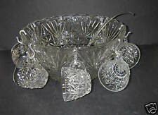 Anchor Hocking ARLINGTON 18 pc Punch SET Bowl Scalloped Rim Cup Ladle Hooks Box