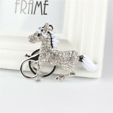 Silver Running Horse Cute Crystal Charm Pendant Purse Bag Key Ring Chain Gift