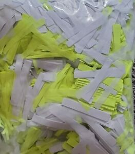 Confetti Flame Proof 2 pounds random cut UV reflective white & lime