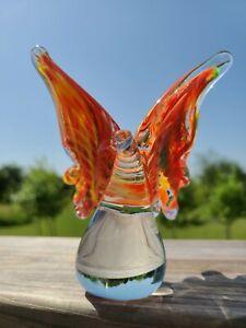 "Beautifull Murano Style Art Glass 5"" Butterfly Sculpture New"