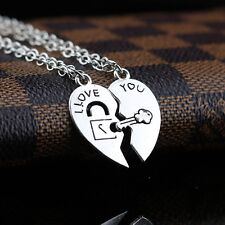2PCS/Set I Love You Heart Lock & Key Couple Pendant Necklace Chain Gift BY147