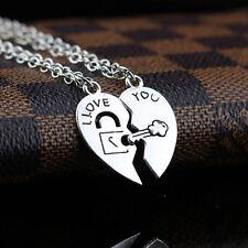2PCS/Set I Love You Heart Lock & Key Couple Pendant Necklace Chain Gift CA147