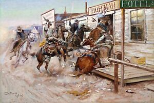 In Without Knocking Painting by Charles Marion Russell Reproduction