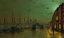 Oil painting John Atkinson Art work street scene in sunset carriage Hand painted