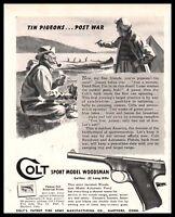 1944 WWII COLT Woodsman Sport .22 Long Pistol AD tin cans post-war pigeons