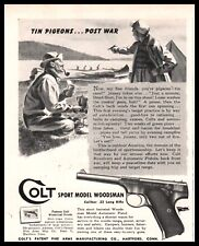 1944 WWII COLT Woodsman Sport .22 Long Pistol AD tin cans post-war pigeons