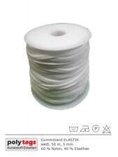 Gummiband ELASTIK, weiß, 50 m Rolle, 5 mm, sehr weich, für Alltagsmasken