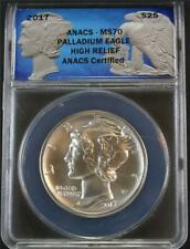 2017 $25 One Ounce .9995 Mint State High Relief Palladium Eagle ANACS MS70
