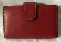 Vintage Red Genuine Leather Women's Bifold Kisslock Wallet EUC