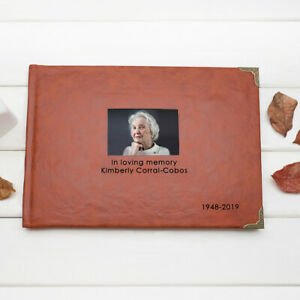 Custom Photo Guestbook Sympathy Funeral Guest Book Leather Memorial Guestbook