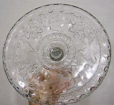 Vintage EAPG Glass Cake Stand Flying Birds and Strawberries Pattern NICE!