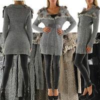 New Sexy Women Cardigan Furr Jacket Ladies Coat Size 6 8 10 12 S M Jumper