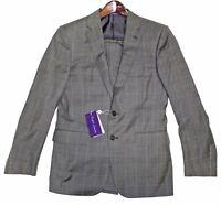 Ralph Lauren Purple Label Mens Anthony Sharkskin Windowpane Wool Slim Suit 38R