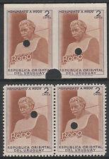 Uruguay 4783 - 1948 monumento Perf & Imperf Rodo pares de prueba