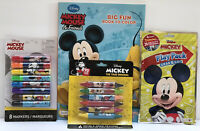 New 4pc Disney Mickey Mouse Coloring & Activity Book Crayons Markers & Play Pack