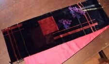 Beautiful Scarf Red Silk Chiffon Jacquard Verso & Muted Floral Rayon Velvet NWT
