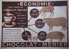PUBLICITÉ DE PRESSE 1933 CHOCOLAT MENIER - JEAN BRETON - ADVERTISING