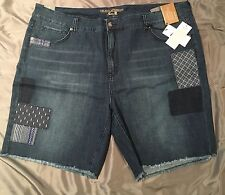 Seven7 Jean Shorts Plus Size 22 Patchwork Denim Slimming System 22W NWT $84