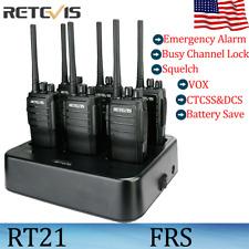 6*Retevis Rt21 Two Way Radios Long Range Frs Walkie Talkies Vox+Six-Way Charger