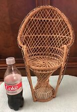 Vintage Peacock Wicker Doll Chair-Boho Rattan Decor-16�-Furniture