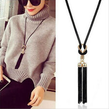 Black And Gold Color Sweater Chain Necklace For Women Tassel Knot Chain Shan