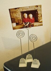 Contemporary SET - 3 Wire Display Holders - Picture Holders - Postcard Holders