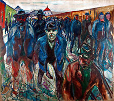 Workers on their Way Home by Edvard Munch A1+ High Quality Canvas Art Print