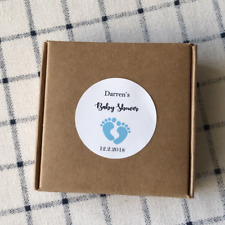 24x 4cm White Paper Boxes Stickers Baby Shower Personalised Favour Gift Stickers