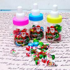 Child Santa Christmas Gift Kids Rubber Eraser Stationery with Milk Bottle Hot